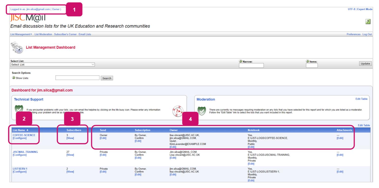 Screenshot of a List management dashboard