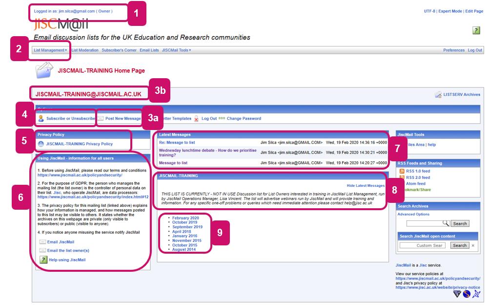Screenshot of a JiscMail list homepage