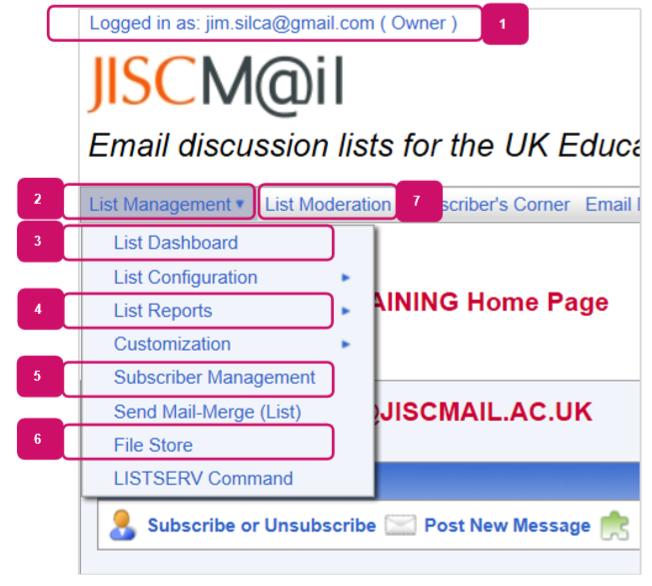 Screenshot of the list management menu