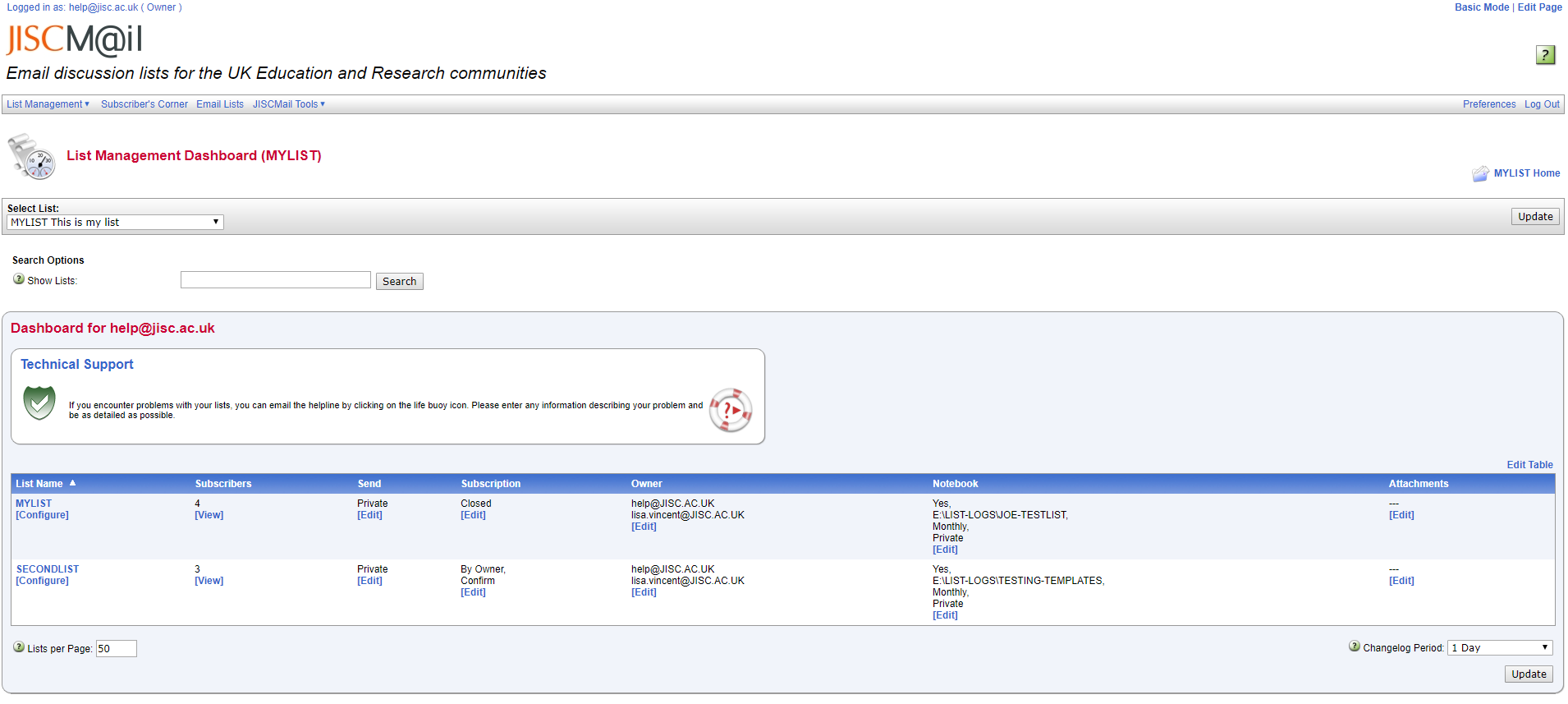 JiscMail web interface showing a list owner dashboard