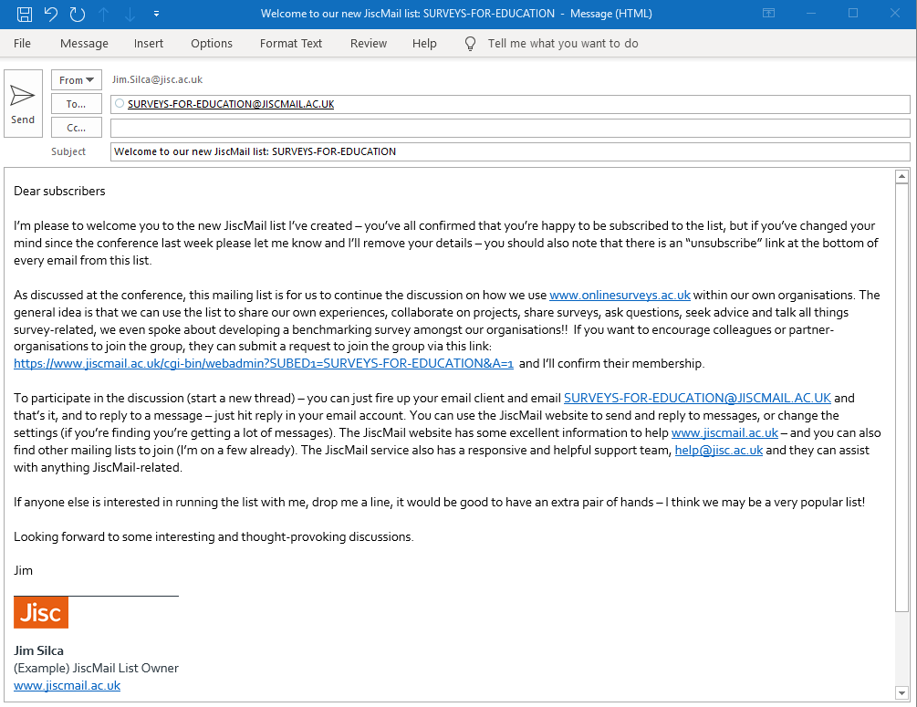 Example email to JiscMail list, from list owners email account