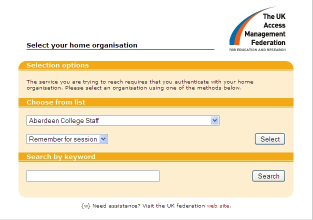 Login via your home organisation